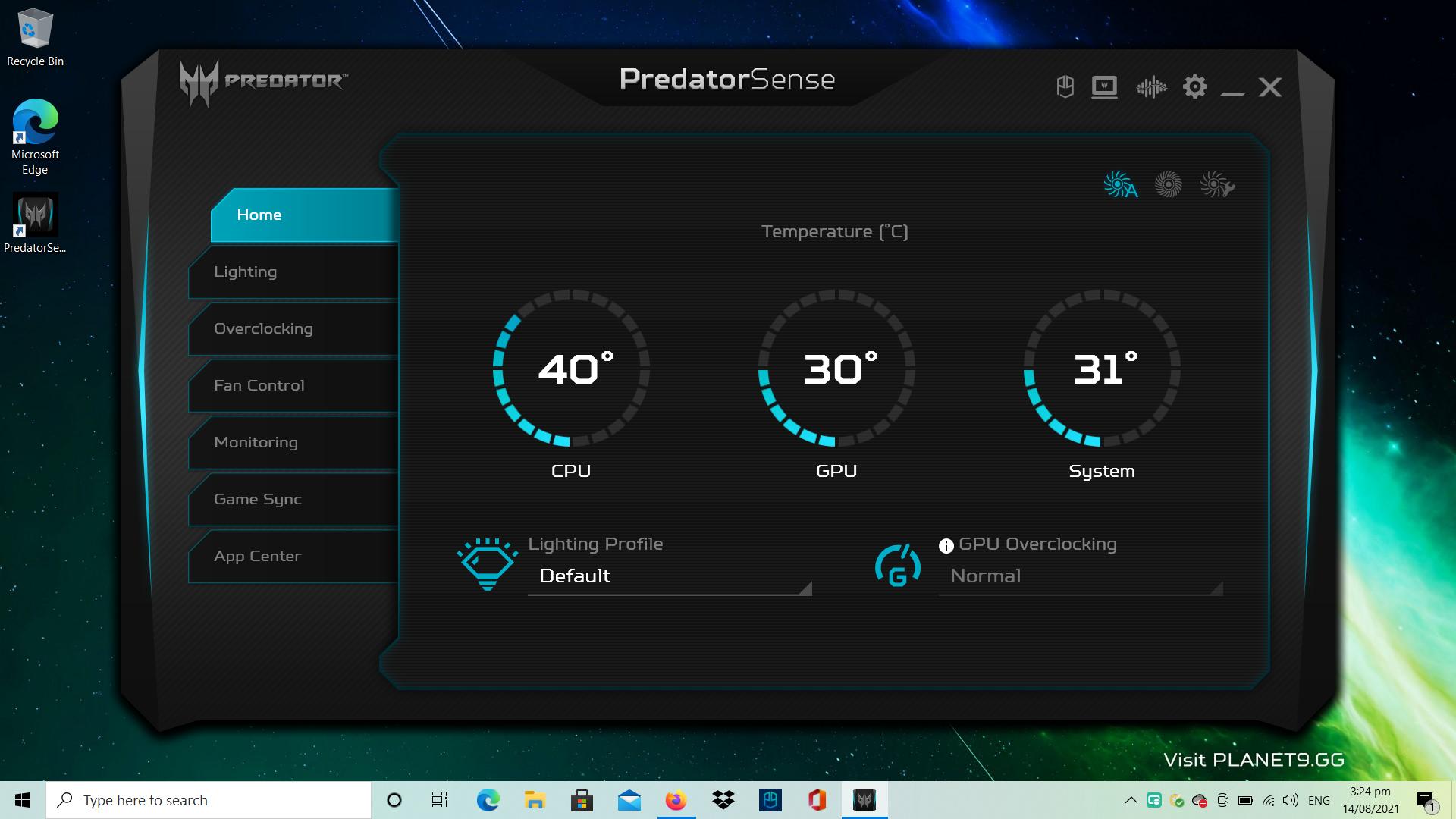 Acer Predator Helios Dashboard